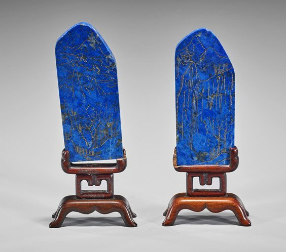 Pair Chinese Gilt Carved Lapis Lazuli Plaques - 2