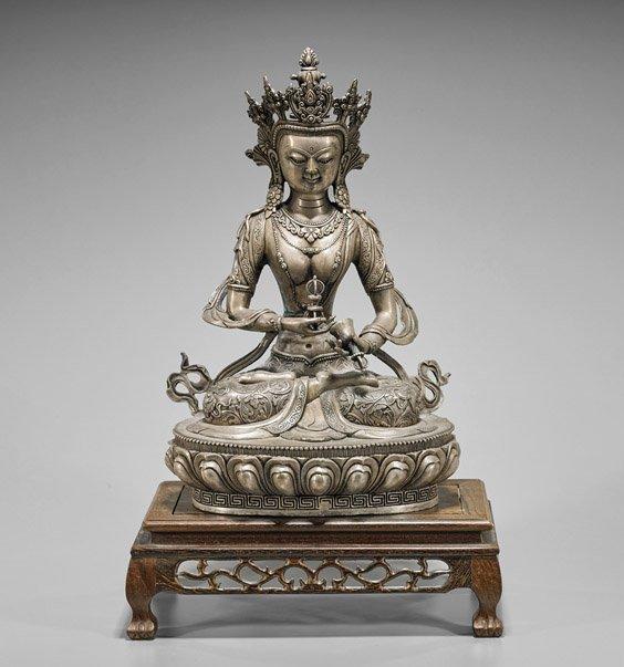Chinese Silvered Bronze Seated Vajrasattva