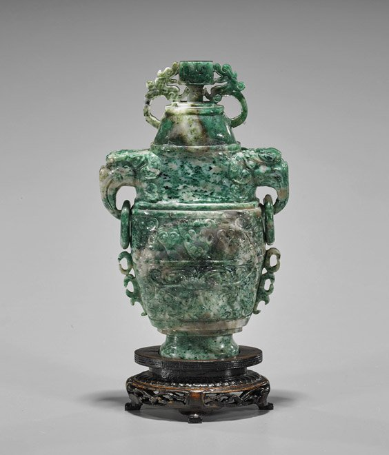 Chinese Carved Honan Jade Urn