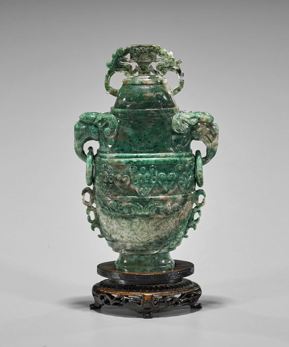 Chinese Carved Honan Jade Urn - 2