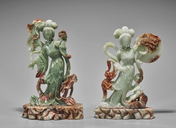 Pair Chinese Carved Bowenite Beauties