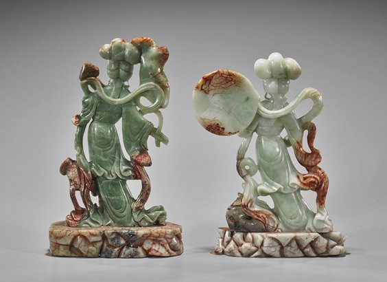 Pair Chinese Carved Bowenite Beauties - 2