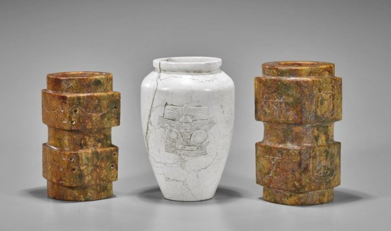 Three Archaistic Chinese Carvings: Vase & Congs