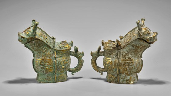 Pair Shang-Style Parcel Gilt Bronze Beer Vessels