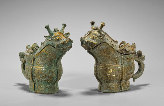 Pair Shang-Style Parcel Gilt Bronze Beer Vessels - 2