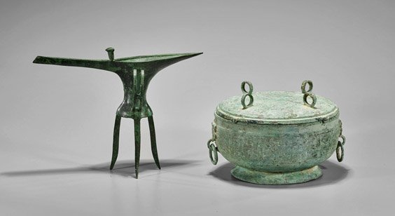 Two Archaistic Chinese Bronzes: Jue & Dui