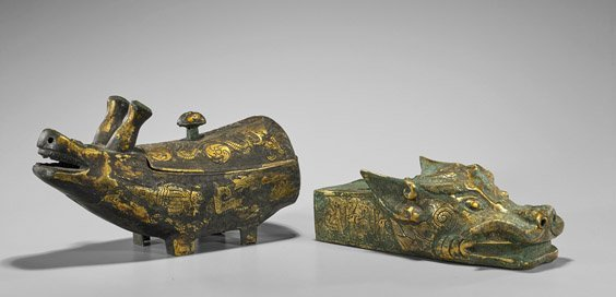 Two Archaistic Chinese Gilt Bronzes: Dragon & Hippo