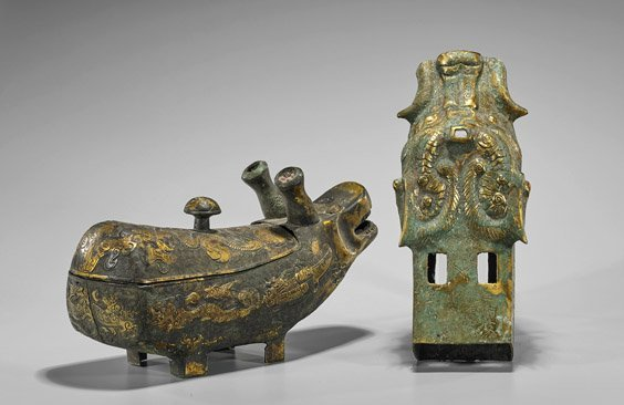 Two Archaistic Chinese Gilt Bronzes: Dragon & Hippo - 2