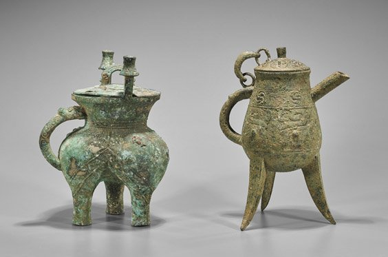 Two Archaistic Chinese Bronze Beer Vessels: He & Jia