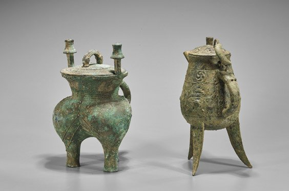 Two Archaistic Chinese Bronze Beer Vessels: He & Jia - 2