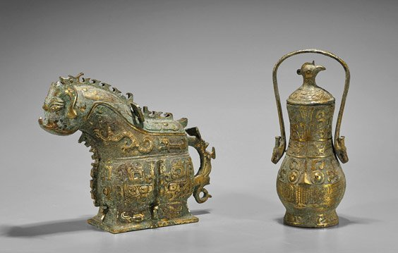 Two Archaistic Chinese Gilt Bronze Beer Vessels: Gong &