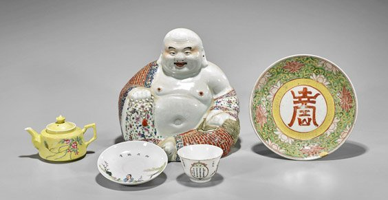 Five Old Chinese Enameled Porcelain Items