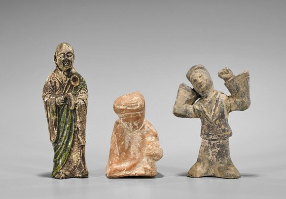 Three Tang & Han Dynasty Pottery Figures