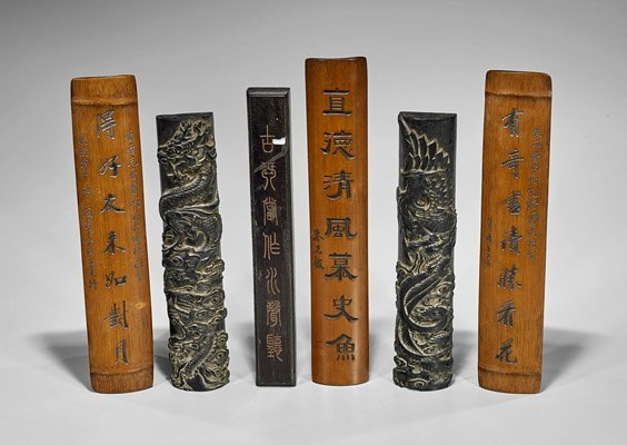 Six Chinese Carved Scroll Weights & Rests