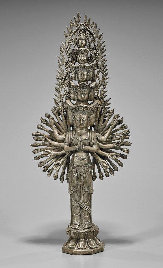 Tall Sino-Tibetan Silvered Bronze Avalokiteshvara
