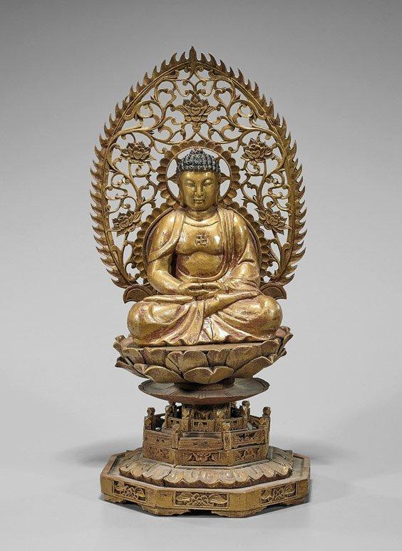 Old Chinese Gilt Wood Seated Buddha