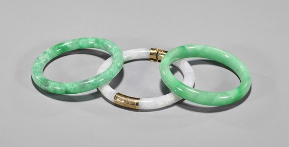 Three Chinese Jadeite Bangle Bracelets