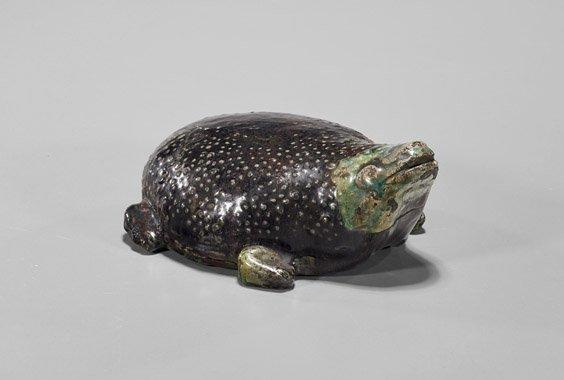 Antique Japanese Glazed Pottery Frog