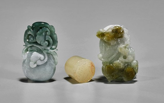 Three Small Chinese Carvings: Pendants & Seal