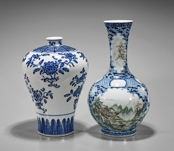 Two Chinese Porcelain Vases: Meiping & Bottle