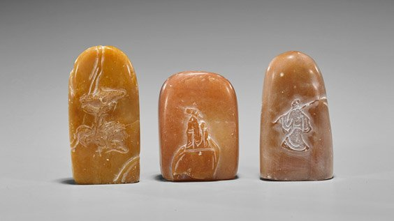 Three Chinese Carved Shoushan Stone Seals