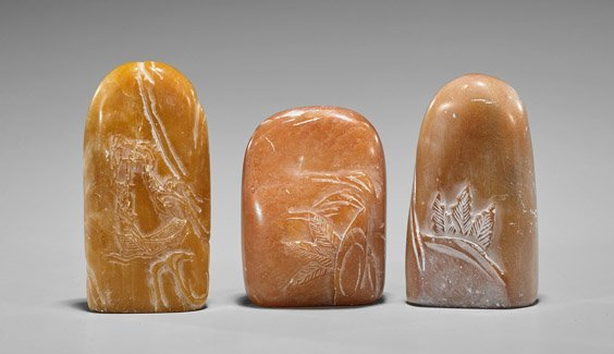 Three Chinese Carved Shoushan Stone Seals - 2