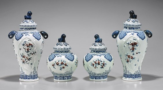 Four Chinese Blue, Red & White Vases