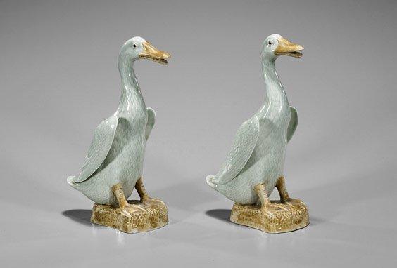 Pair Chinese Ceramic Ducks - 2