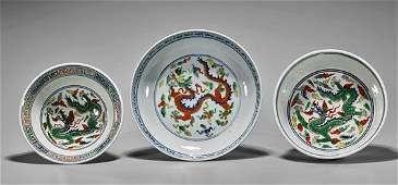 Three MingStyle Wucai Porcelains