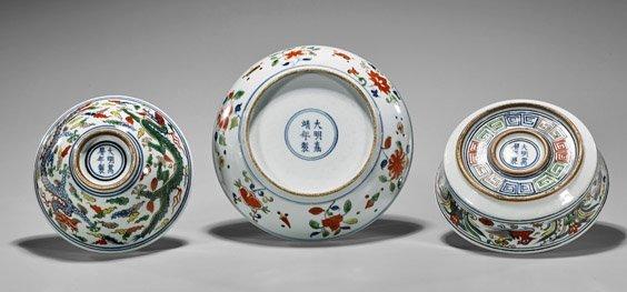 Three Ming-Style Wucai Porcelains - 2