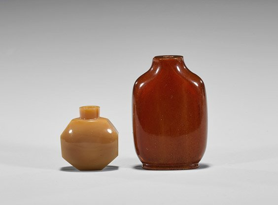 Two Antique Snuff Bottles: Glass & Composite