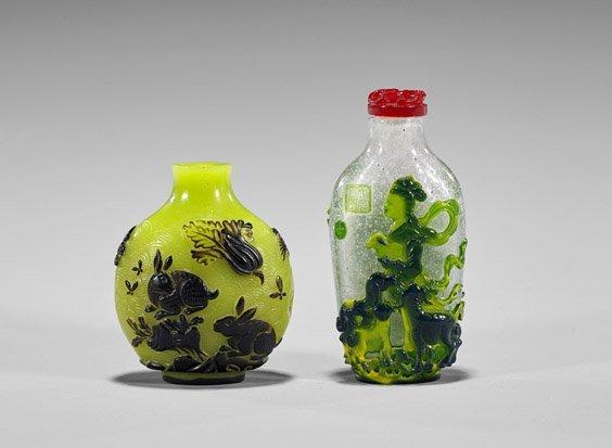 Two Beijing Glass Overlay Snuff Bottles