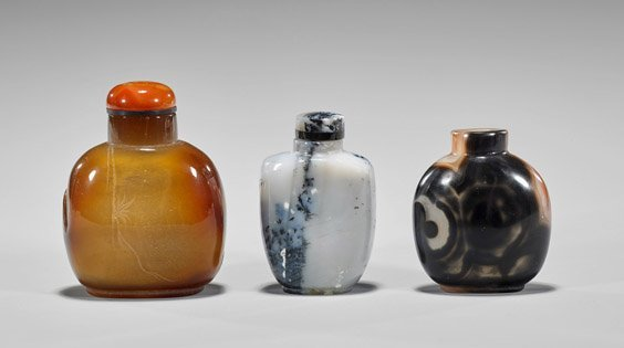 Three Carved Agate Snuff Bottles - 2