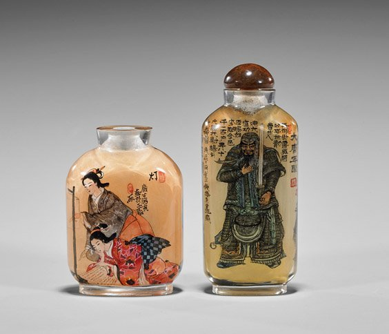 Two Inside Painted Glass Snuff Bottles