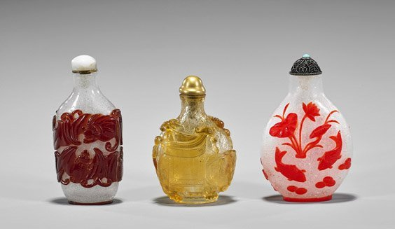 Three Beijing Glass Overlay Snuff Bottles