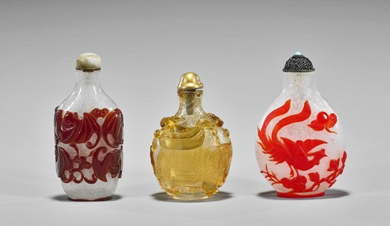 Three Beijing Glass Overlay Snuff Bottles - 2