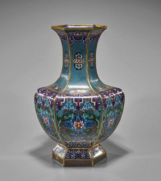 Large Ming-Style Cloisonne Enamel Vase