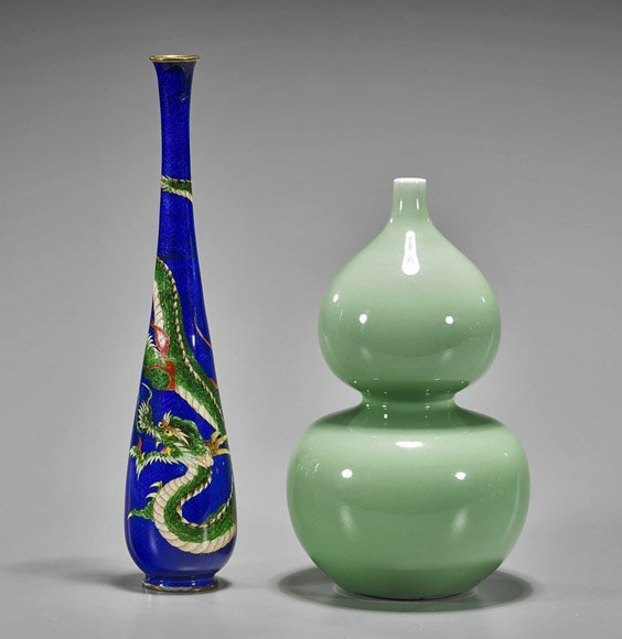 Two Vases: Japanese Cloisonne & Chinese Celadon