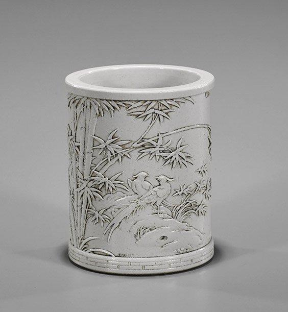 Chinese White Glazed Porcelain Brushpot