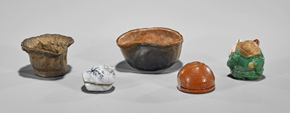 Five Antique Japanese Ceramics: Kogo-yaki & Tea Bowls