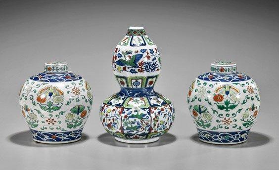 Three Chinese Doucai Porcelains: Jars & Vase