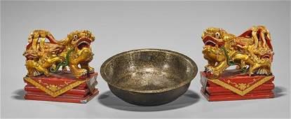 Three Chinese Gilt Items: Lions & Bowl
