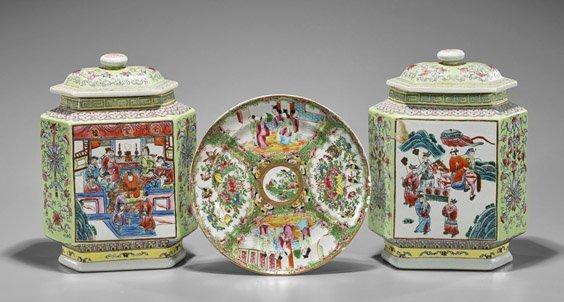 Three Chinese Enameled Porcelains: Jars & Plate