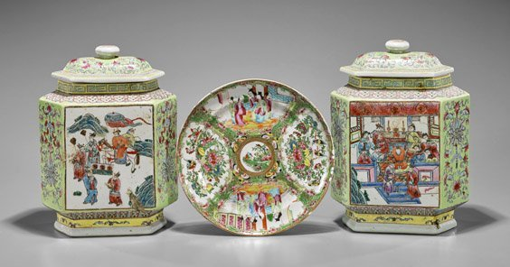 Three Chinese Enameled Porcelains: Jars & Plate - 2