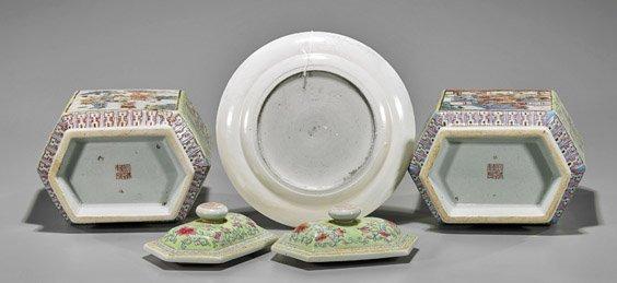 Three Chinese Enameled Porcelains: Jars & Plate - 3