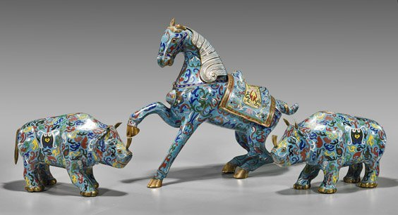 Three Chinese Cloisonne Enamel Animals