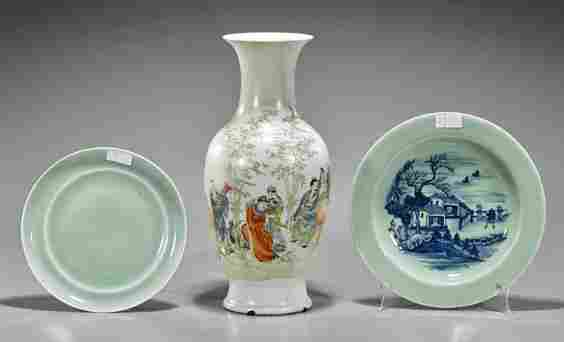 Three Old & Antique Chinese Porcelains: Vase & Plates