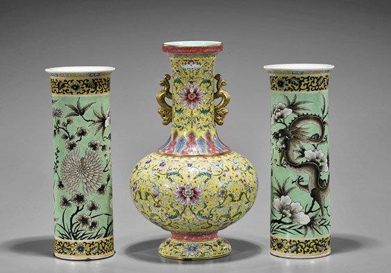 Three Chinese Porcelain Vases: Yi Tong & Bottle