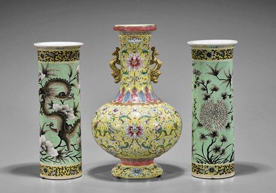 Three Chinese Porcelain Vases: Yi Tong & Bottle - 2