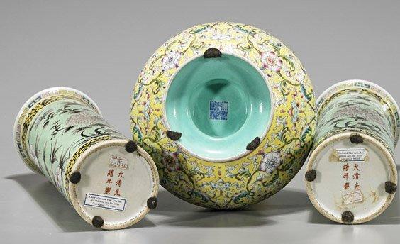Three Chinese Porcelain Vases: Yi Tong & Bottle - 3